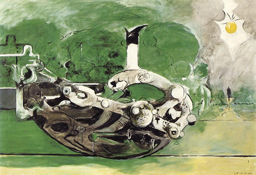 Graham-Sutherland,-Poised-Form-in-a-Landscape,-1969