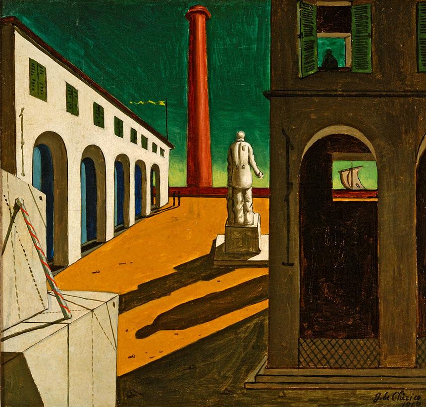 Giorgio de Chirico, Enigma della partenza, 1914, olio su tela cm 38,5 x 41, Fondazione Magnani- Rocca