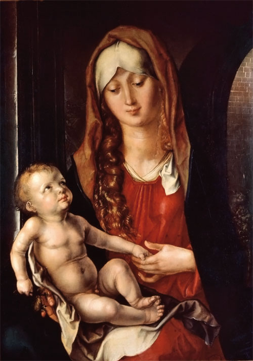 Albrecht Dürer. Madonna col Bambino, detta anche Madonna del Patrocinio (1495). Olio su tavola, cm 47,8 x 36,5.