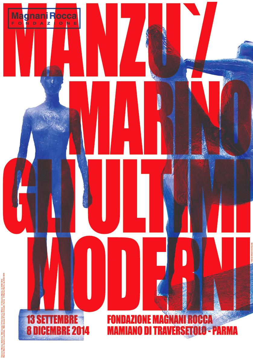 La locandina ufficiale della mostra Manzu/Marino disegnata da Kreativehouse