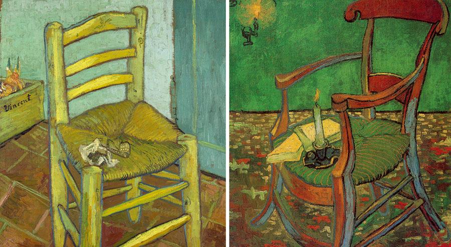 Vincent Van Gogh, La sedia di Van Gogh © The National Gallery, London. Bought, Courtauld Fund, 1924 - Vincent Van Gogh, La sedia di Gauguin, 1888, Amsterdam, Van Gogh Museum