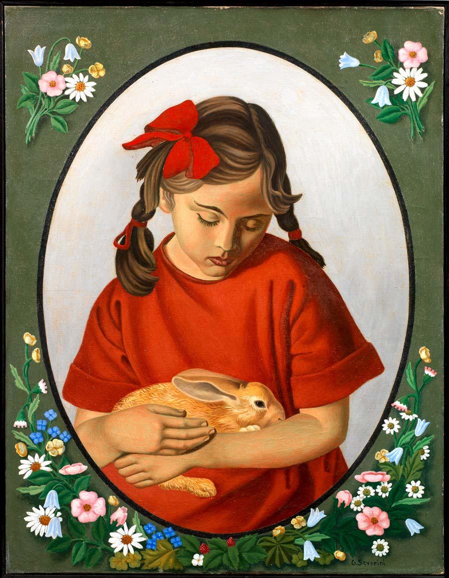 Gino Severini, La fillette au lapin, 1922, olio su tela