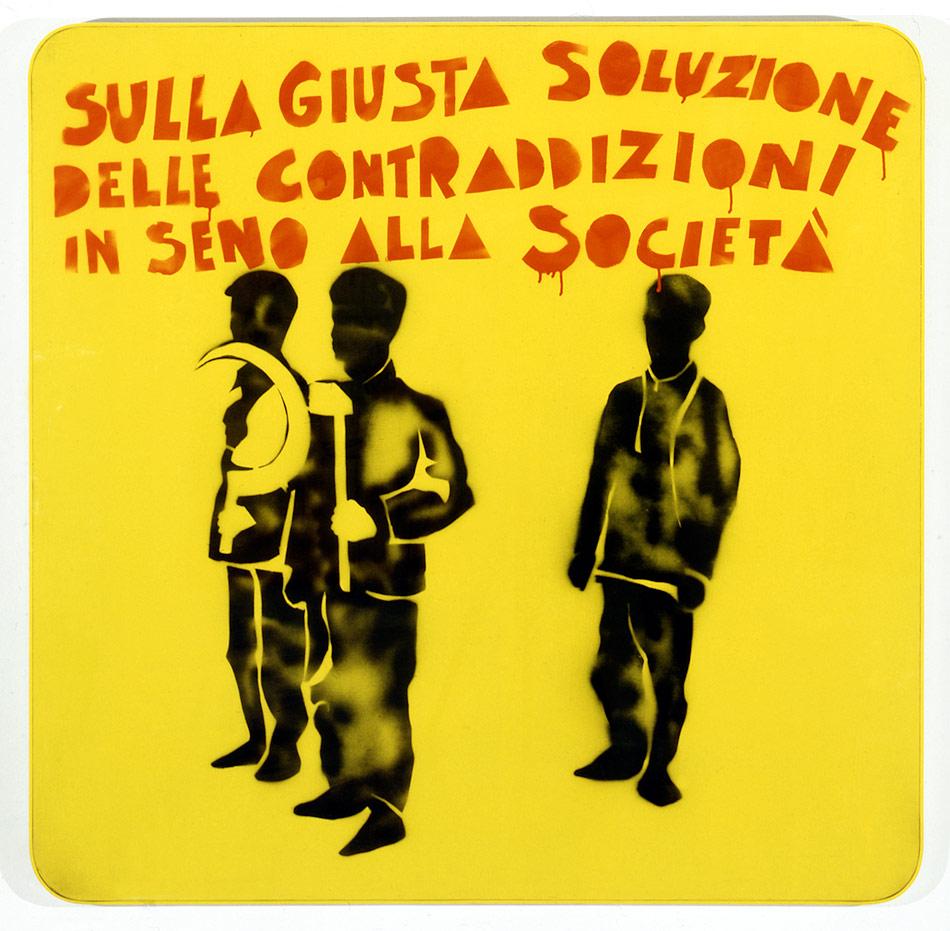 Mario Schifano - compagni compagni (1968) smalto e spray su tela e perspex
