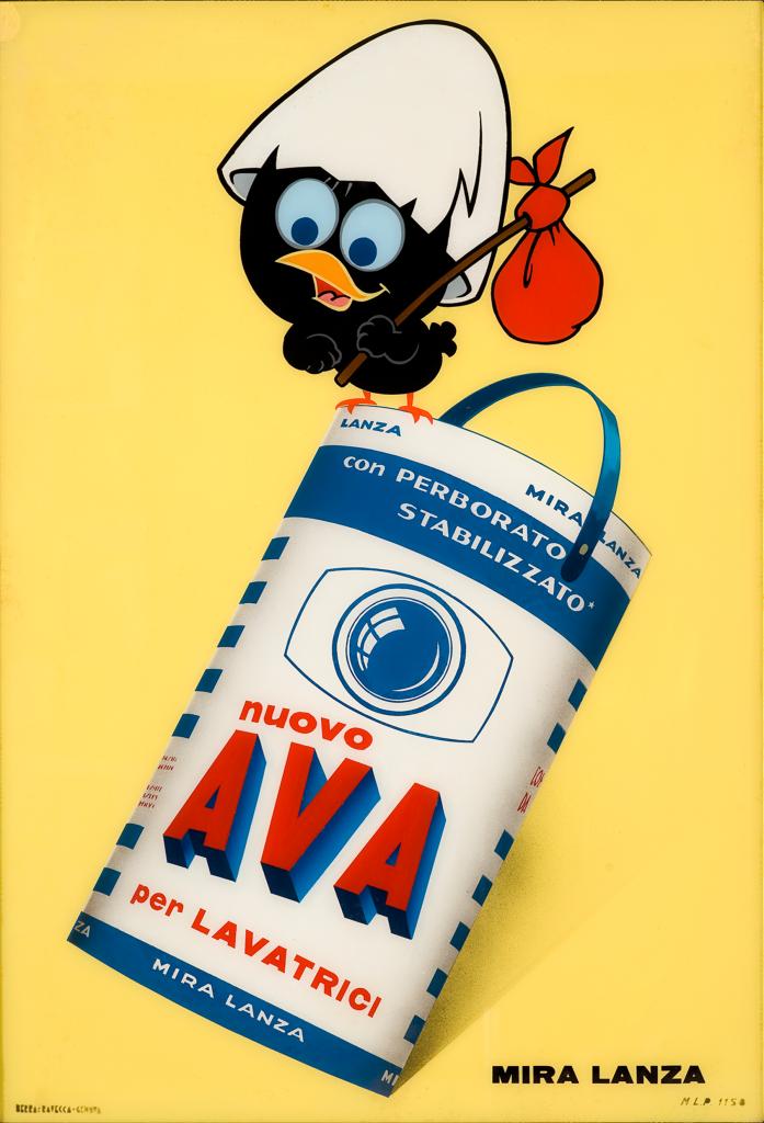 Produzione Pagot, Calimero, pubblicità per Ava Mira Lanza, 1965, vetrofania. Collezione Galleria L'IMAGE, Alassio (SV)