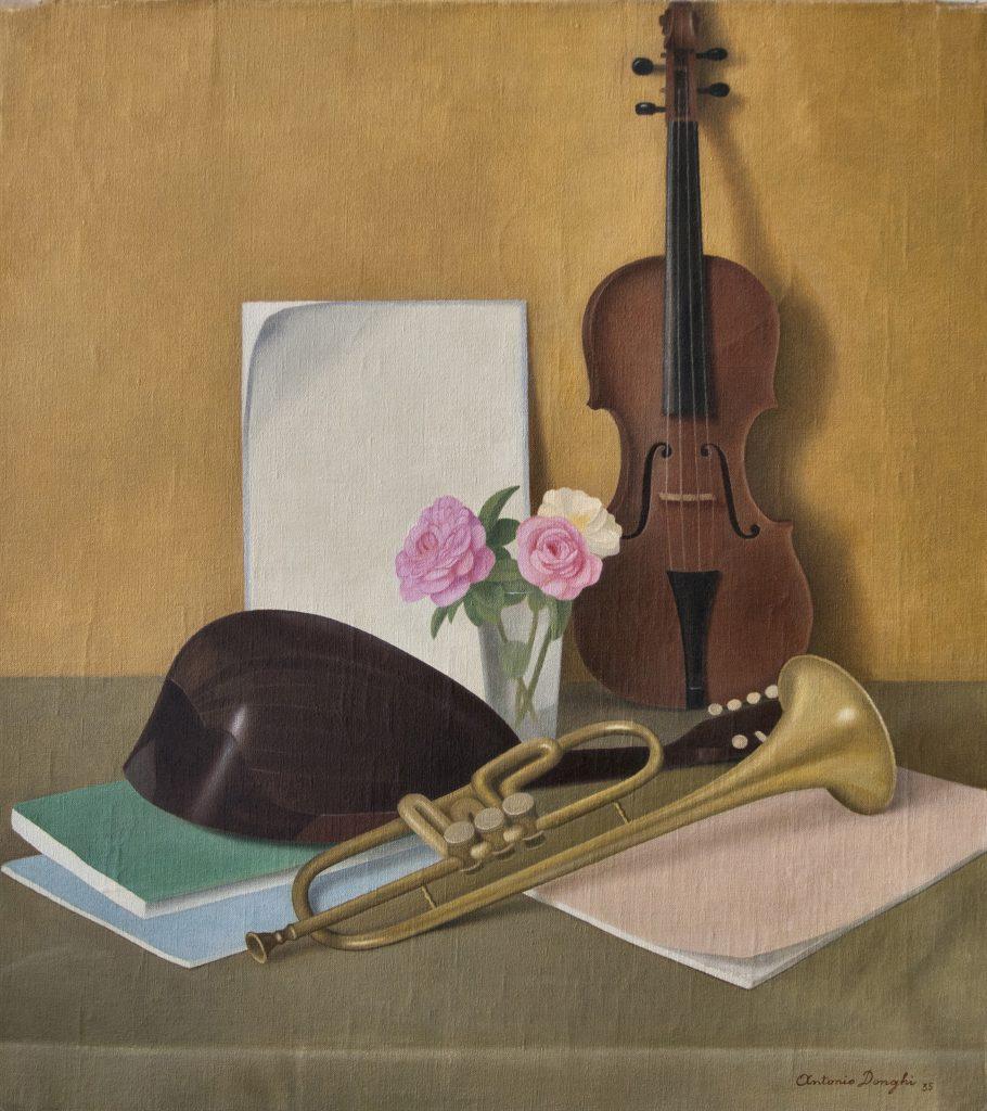 """Antonio Donghi, Strumenti musicali; esposto in mostra """"L'ultimo romantico"""""""