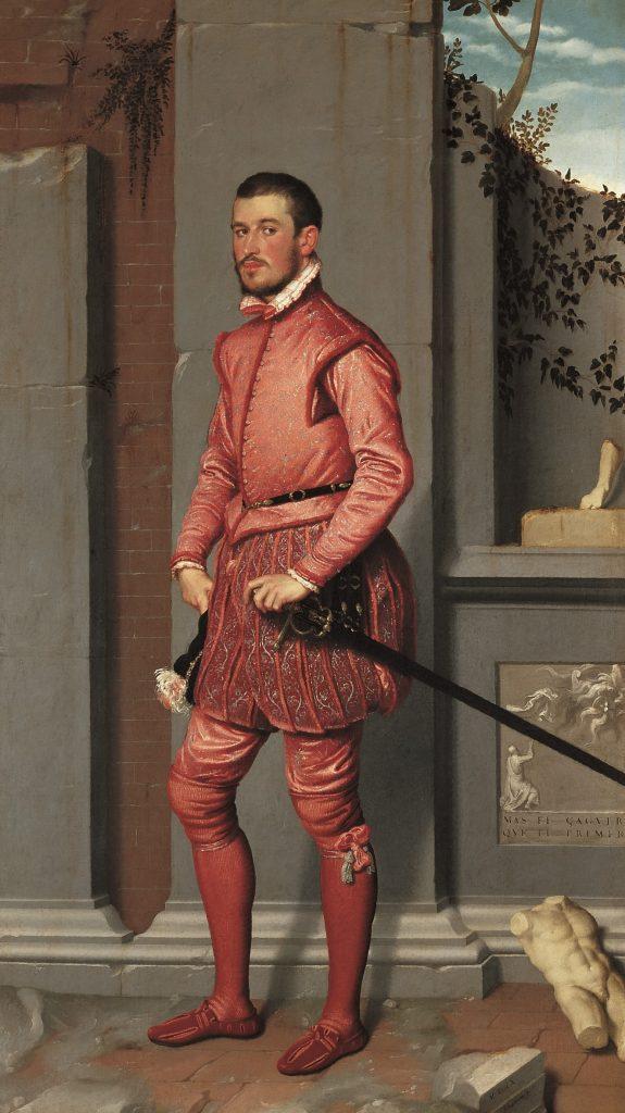 """Giovan Battista Moroni dipinge nel 1560 """"Il cavaliere in rosa""""; esposto in mostra, era un'opera fortemente cercata da Luigi Magnani ma mai ottenuta"""